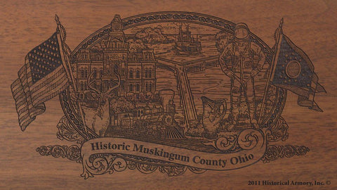 muskingum county ohio engraved rifle buttstock
