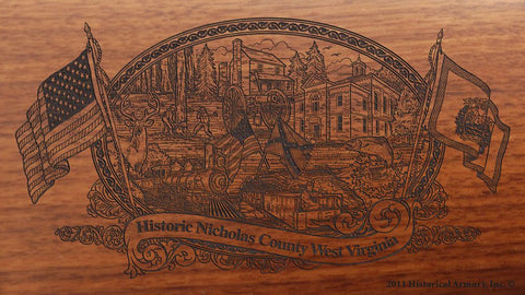 nicholas county west virginia engraved rifle buttstock