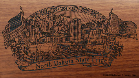 north dakota state engraved rifle buttstock