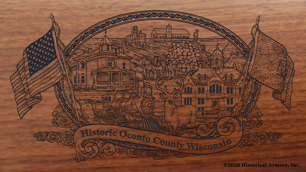Oconto County Wisconsin Engraved Rifle Buttstock