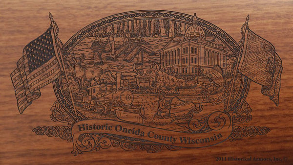 oneida county wisconsin engraved rifle buttstock