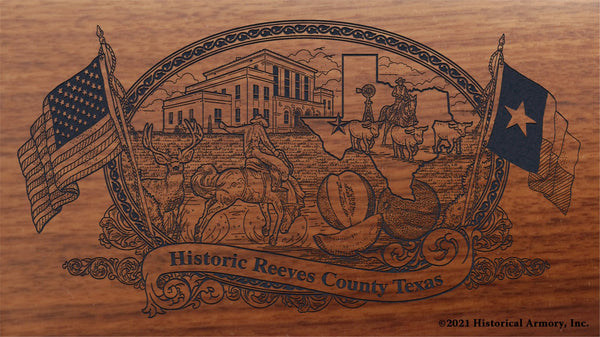 reeves county texas engraved rifle buttstock