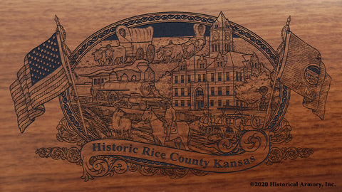 Rice County Kansas Engraved Rifle Buttstock