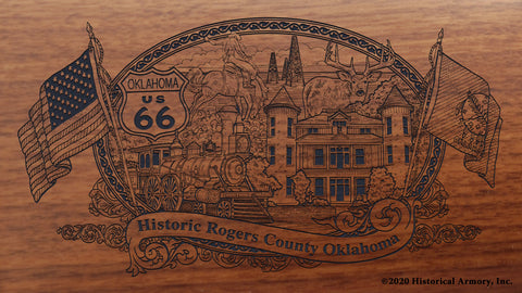 Rogers County Oklahoma Engraved Rifle Buttstock