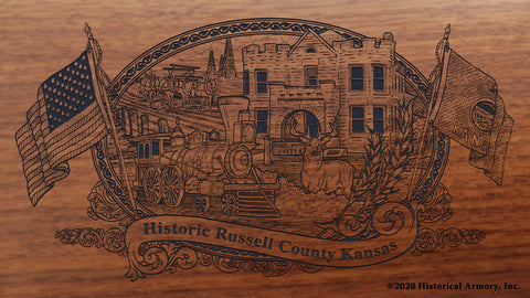 Russell County Kansas Engraved Rifle Buttstock