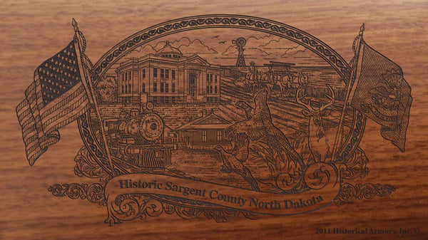 sargent county north dakota engraved rifle buttstock