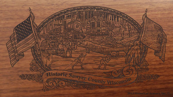 sawyer county wisconsin engraved rifle buttstock