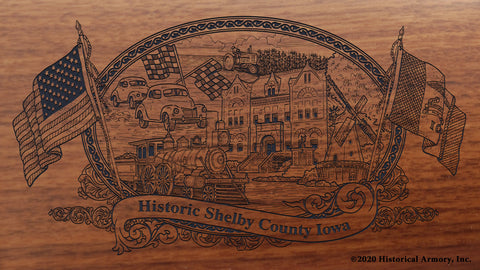 Shelby County Iowa Engraved Rifle Buttstock