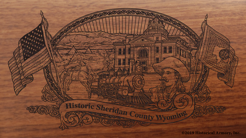 Sheridan County Wyoming Engraved Rifle