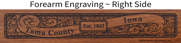 Tama County Iowa Engraved Rifle Forearm Right-Side