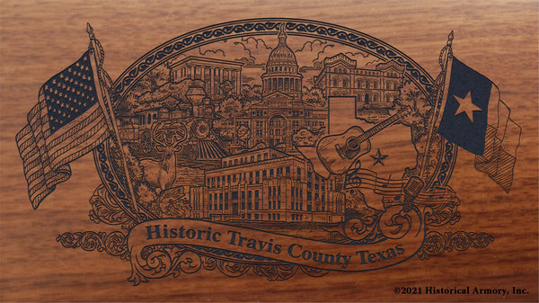 travis county texas engraved rifle buttstock