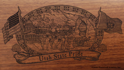 utah state engraved rifle buttstock