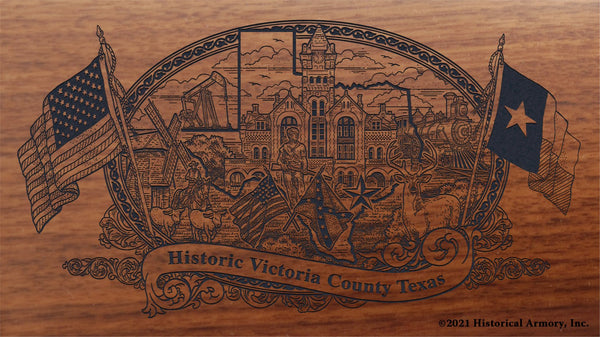 victoria county texas engraved rifle buttstock
