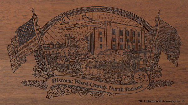 ward county north dakota engraved rifle buttstock