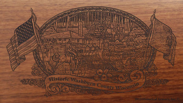 washburn county wisconsin engraved rifle buttstock
