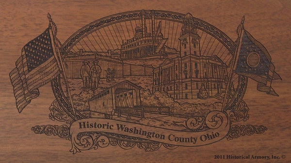 washington county ohio engraved rifle buttstock