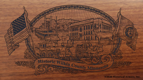 Wilkin County Minnesota Engraved Rifle Buttstock