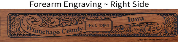 Winnebago County Iowa Engraved Rifle Forearm Right-Side