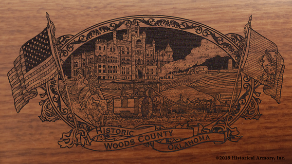 Woods County Oklahoma Engraved Rifle