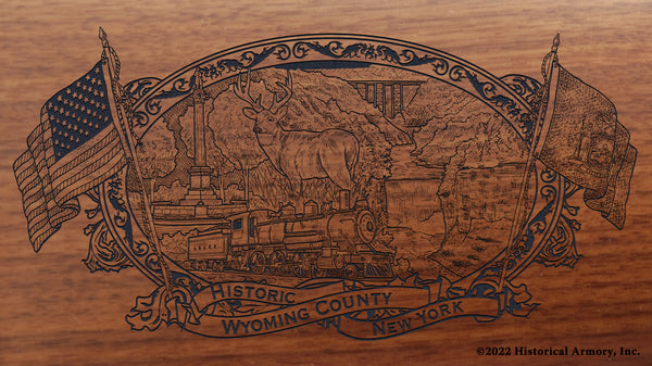 wyoming county new york engraved rifle buttstock