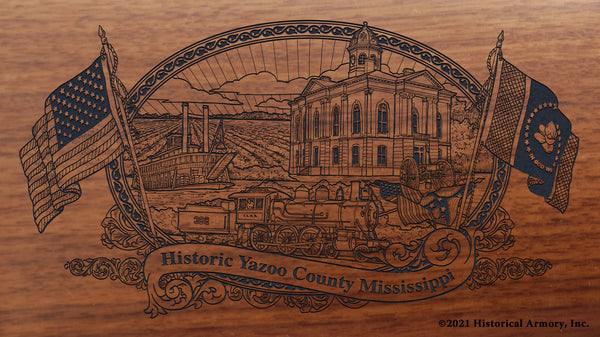 Yazoo County Mississippi Engraved Rifle Buttstock