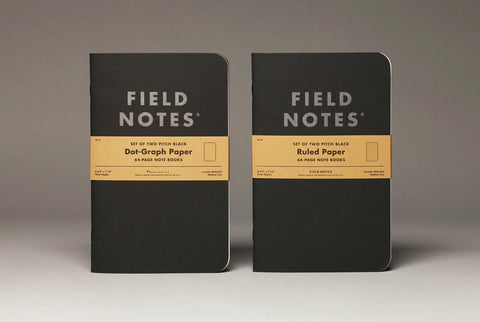 Field Notes Pitch Black Dot-Graph and Ruled Paper (Set of Two)