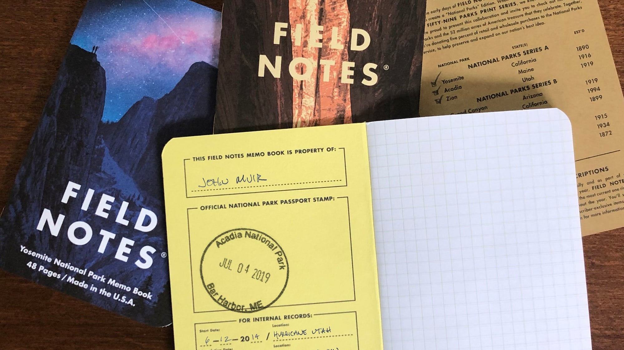 Field Notes National Parks Series