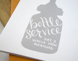 Bottle Service Greeting Card