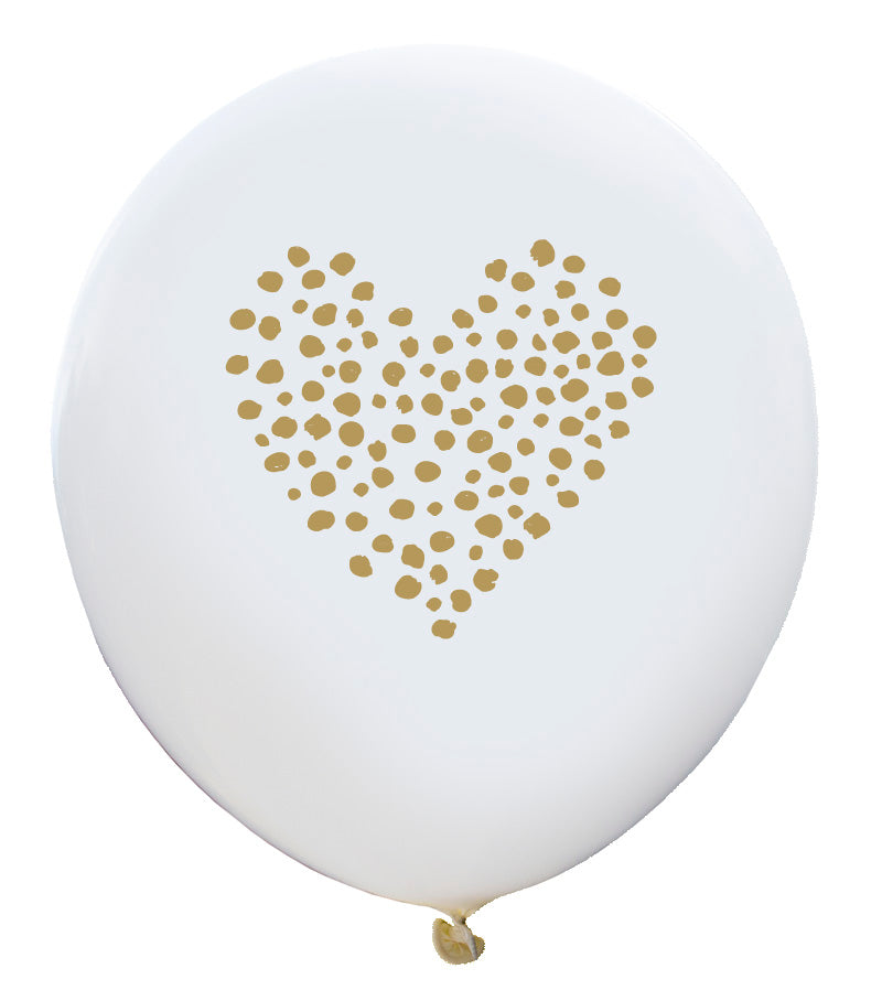 Dotted Heart Balloon (white, two-pack)