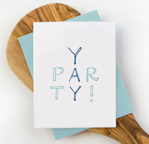Yay Party Blue Greeting Card