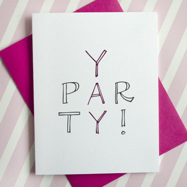 Yay Party Pink Greeting Card