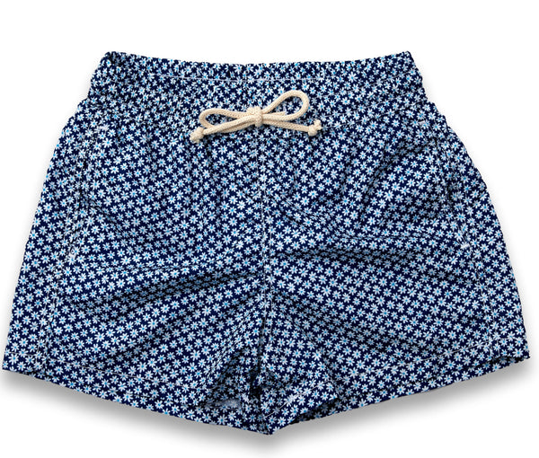 Mens Swim Trunks // Navy Flowers