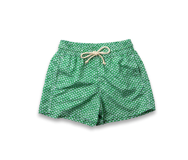 Boys Swim Trunks // Green Flowers