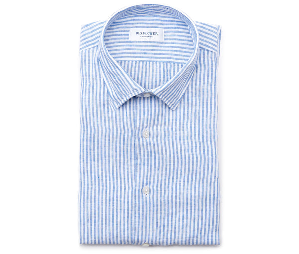 Mens Slim Fit Striped Linen Shirt