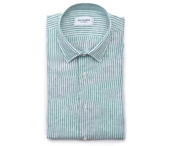 Italian Linen Shirt // Grass Stripe