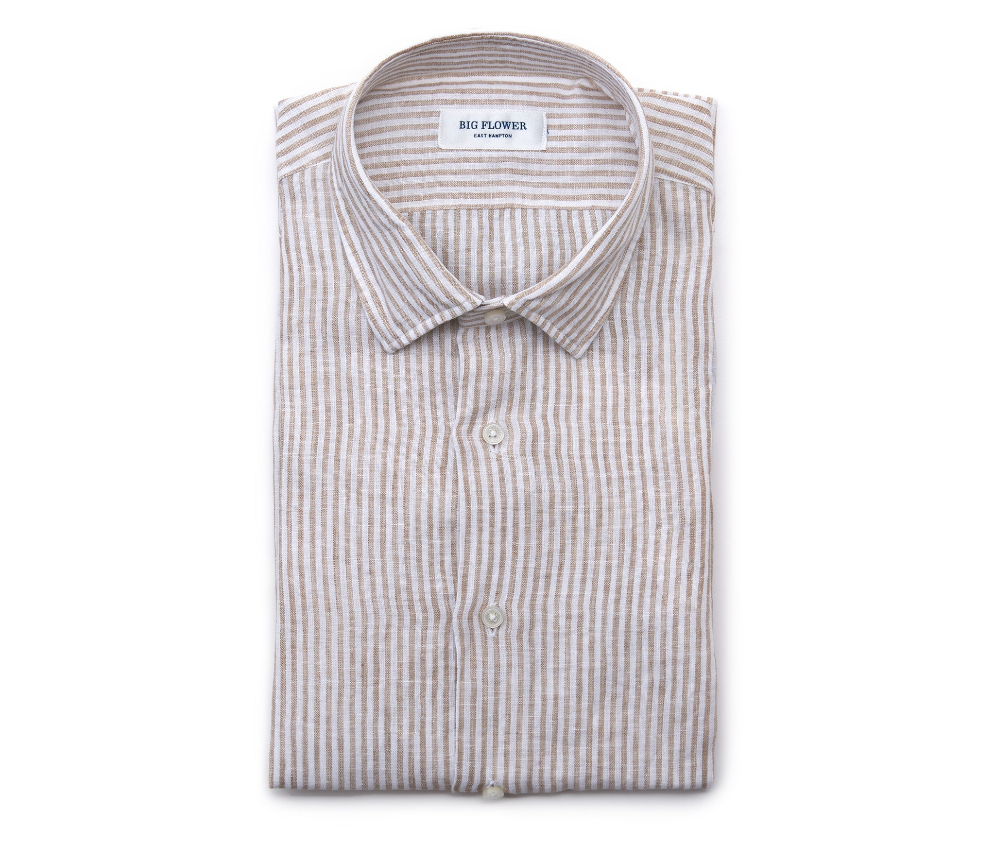 Italian Linen Slim Fit Shirt // Oat Stripe
