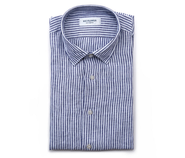 Italian Linen Slim Fit Shirt // Midnight Stripe