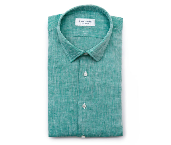 Italian Linen Slim Fit Shirt // Grass
