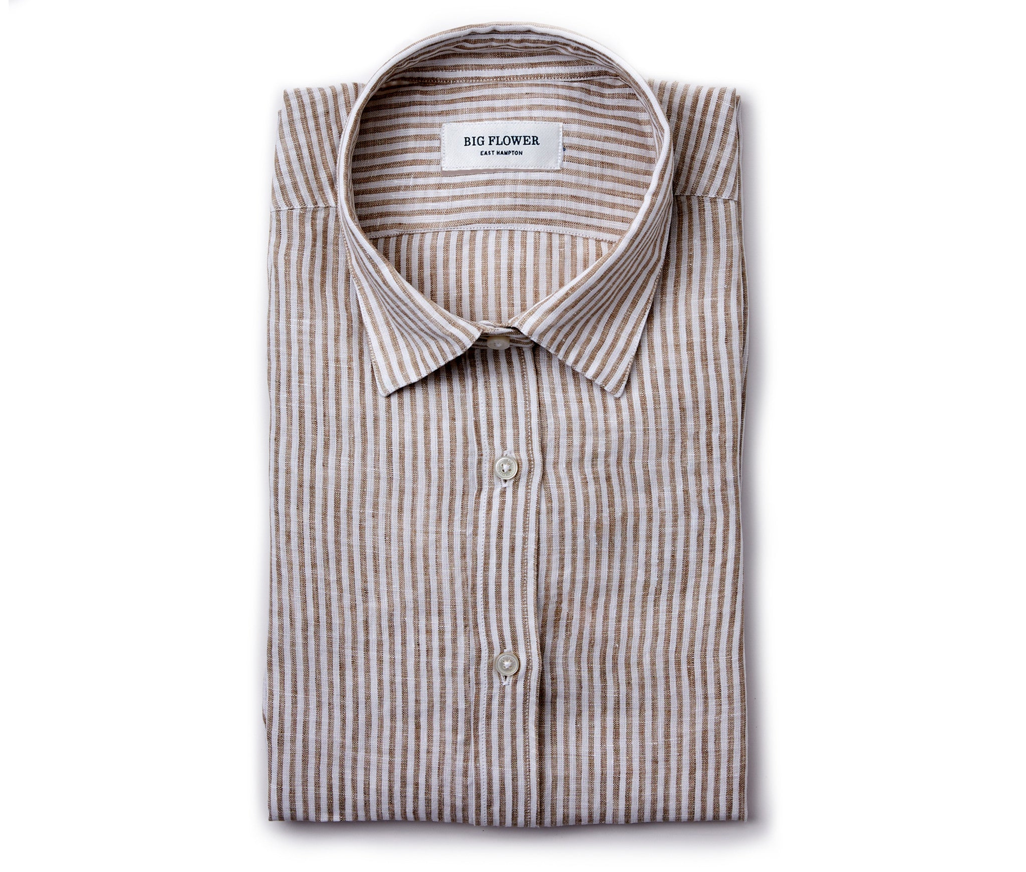 Womens Linen Shirt // Oat Stripe