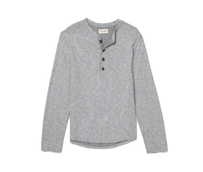 Grey Japanese Cotton Henley