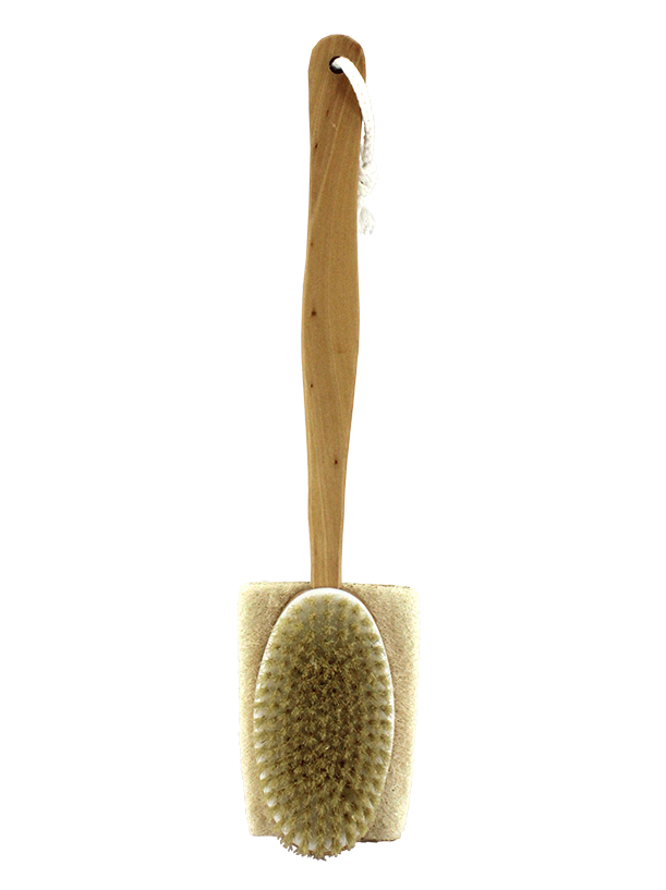 Double Sided Wooden Bath Brush 1 Side Natural Bristle 1 Side Loofah.