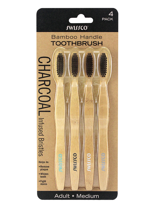 4PK BAMBOO HANDLE CHARCOAL TOOTHBRUSH MEDIUM