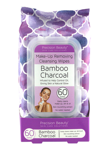 Precision Beauty Make Up Removing Cleansing Wipes, Bamboo Charcoal 60ct