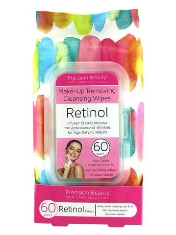 Precision Beauty Make Up Removing Cleansing Wipes, Retinol 60ct