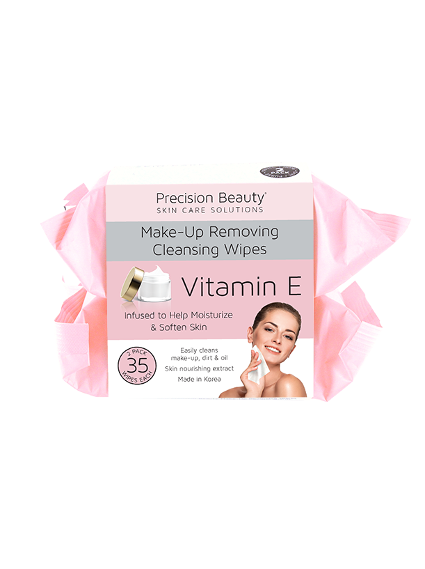 2 X 35CT MAKE UP REMOVING CLEANSING WIPES, VITAMIN E (PASTEL)