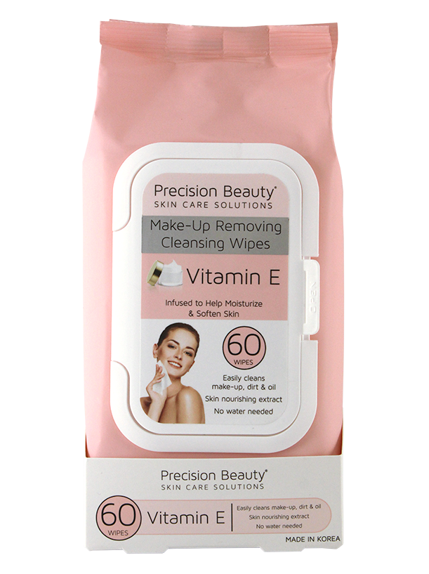 MAKE UP REMOVING CLEANSING WIPES, VITAMIN E 60CT