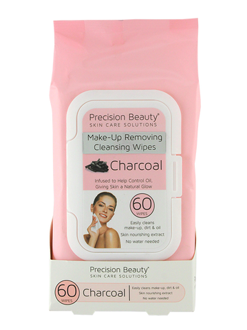 Precision Beauty Make Up Removing Cleansing Wipes, Charcoal 60ct (Pastel)