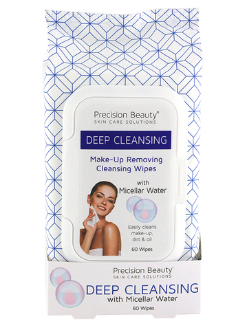 Precision Beauty Make Up Removing Cleansing Wipes, Micellar Water 60ct
