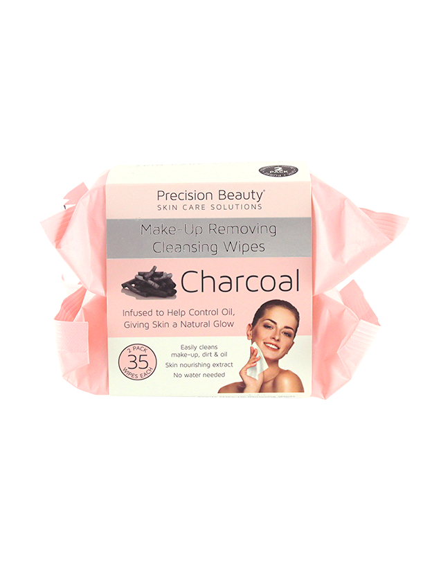 Precision Beauty 2 x 35ct  Make Up Removing Cleansing Wipes, Charcoal