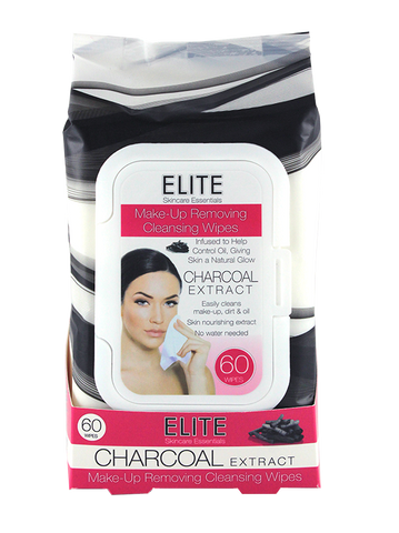 Elite Make Up Removing Cleansing Wipes, Charcoal 60ct